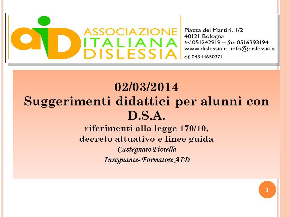 02/03/2014 Suggerimenti didattici per alunni con D.S.A. riferimenti alla legge 170/10, decreto attuativo e linee guida Castegnaro Fiorella Insegnante-