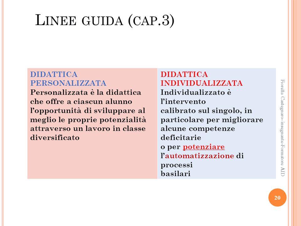 L INEE GUIDA ( CAP.3) 20 Fiorella Castegnaro- insegnante-Formatore AID DIDATTICA PERSONALIZZATA Personalizzata è la didattica che offre a ciascun alun