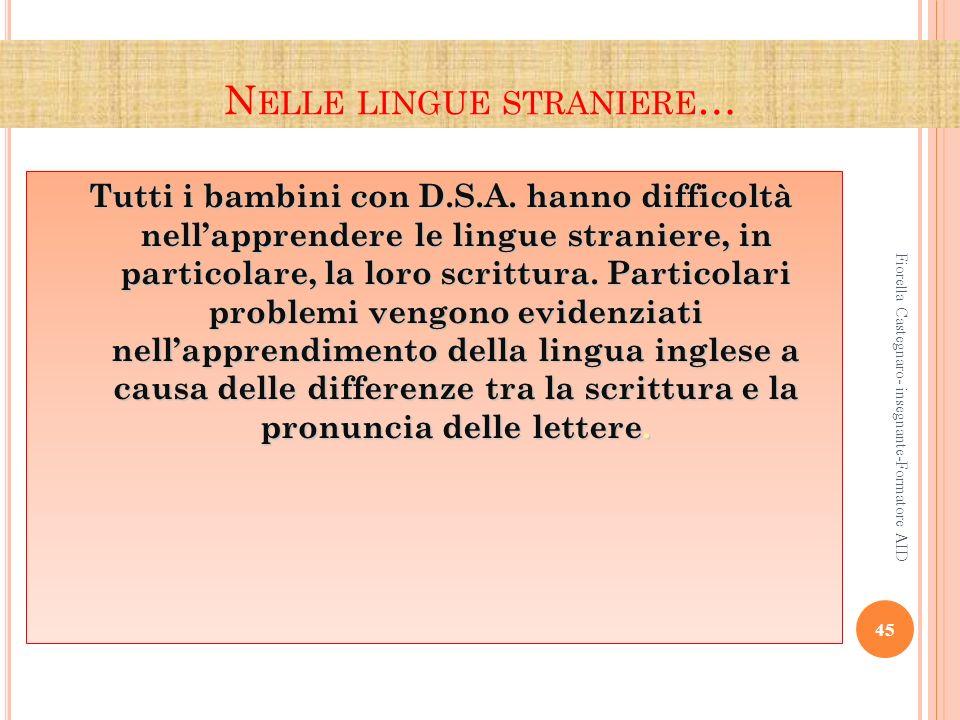 N ELLE LINGUE STRANIERE … Tutti i bambini con D.S.A. hanno difficoltà nellapprendere le lingue straniere, in particolare, la loro scrittura. Particola