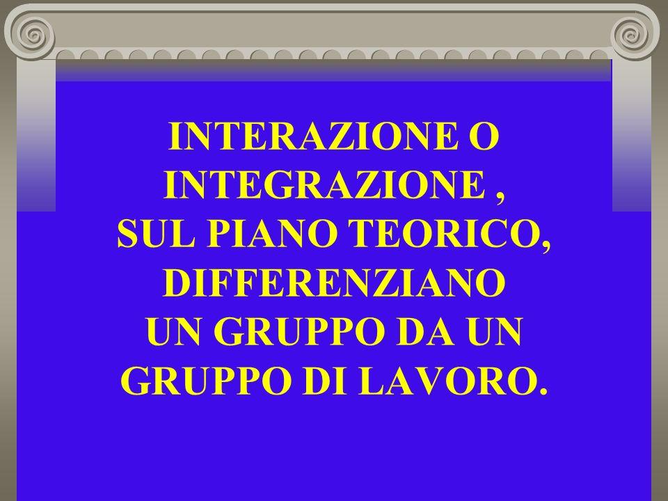 INTERAZIONE O INTEGRAZIONE, SUL PIANO TEORICO, DIFFERENZIANO UN GRUPPO DA UN GRUPPO DI LAVORO.