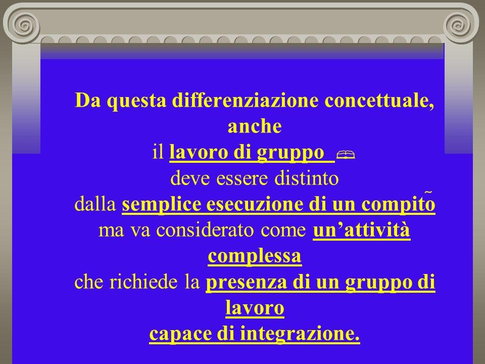 Da questa differenziazione concettuale, anche il lavoro di gruppo deve essere distinto dalla semplice esecuzione di un compito ma va considerato come