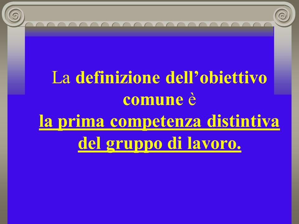 La definizione dellobiettivo comune è la prima competenza distintiva del gruppo di lavoro.