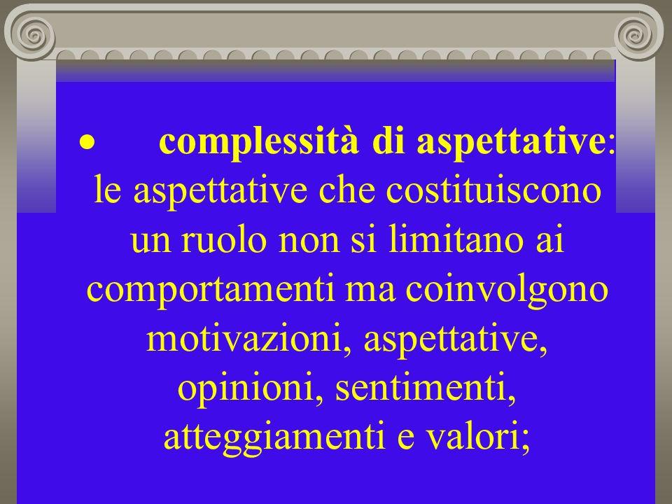 complessità di aspettative: le aspettative che costituiscono un ruolo non si limitano ai comportamenti ma coinvolgono motivazioni, aspettative, opinioni, sentimenti, atteggiamenti e valori;