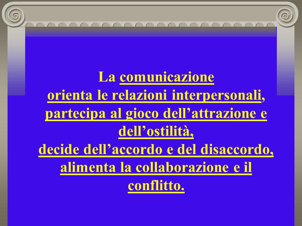 La comunicazione orienta le relazioni interpersonali, partecipa al gioco dellattrazione e dellostilità, decide dellaccordo e del disaccordo, alimenta