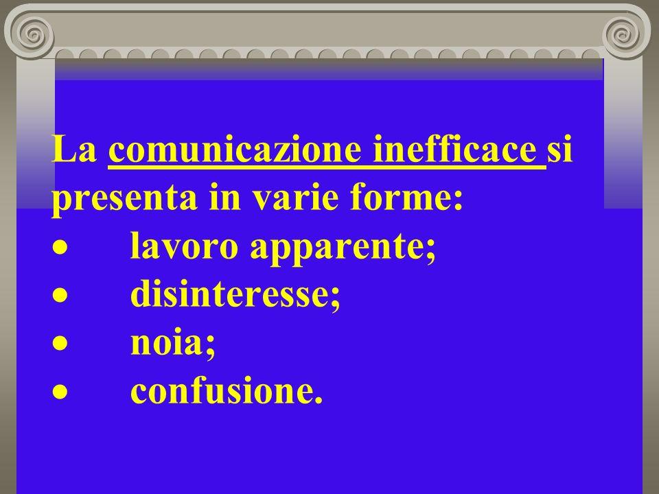 La comunicazione inefficace si presenta in varie forme: lavoro apparente; disinteresse; noia; confusione.