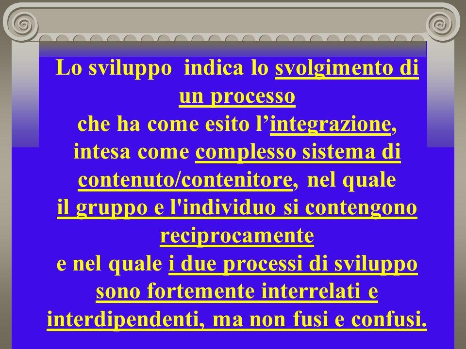 Lo sviluppo indica lo svolgimento di un processo che ha come esito lintegrazione, intesa come complesso sistema di contenuto/contenitore, nel quale il gruppo e l individuo si contengono reciprocamente e nel quale i due processi di sviluppo sono fortemente interrelati e interdipendenti, ma non fusi e confusi.
