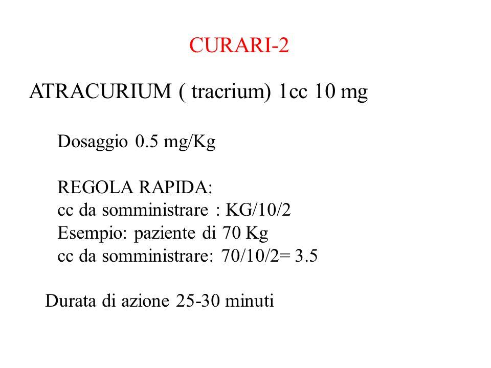 CURARI-2 ATRACURIUM ( tracrium) 1cc 10 mg Dosaggio 0.5 mg/Kg REGOLA RAPIDA: cc da somministrare : KG/10/2 Esempio: paziente di 70 Kg cc da somministra
