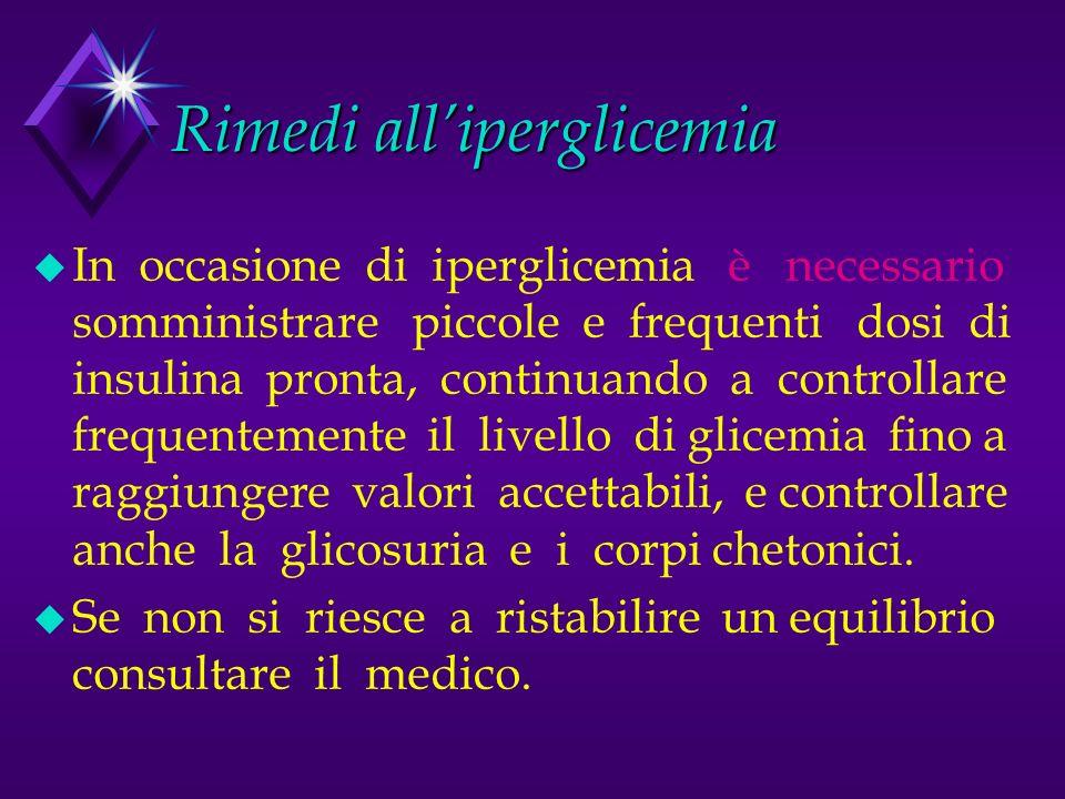 Possibili cause delliperglicemia u Dimenticato la terapia (insulina o A.O.) u Terapia ridotta per errore u In conseguenza di una malattia infettiva u