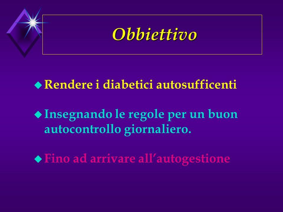 Obbiettivo Obbiettivo u Rendere i diabetici autosufficenti u Insegnando le regole per un buon autocontrollo giornaliero.