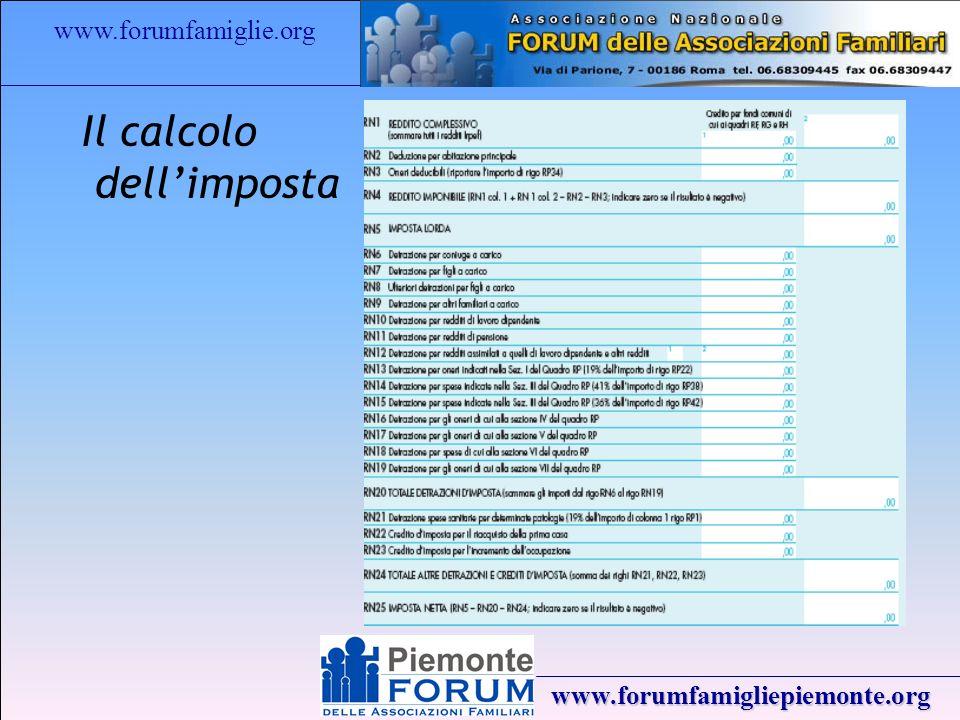 www.forumfamiglie.org www.forumfamigliepiemonte.org Il calcolo dellimposta