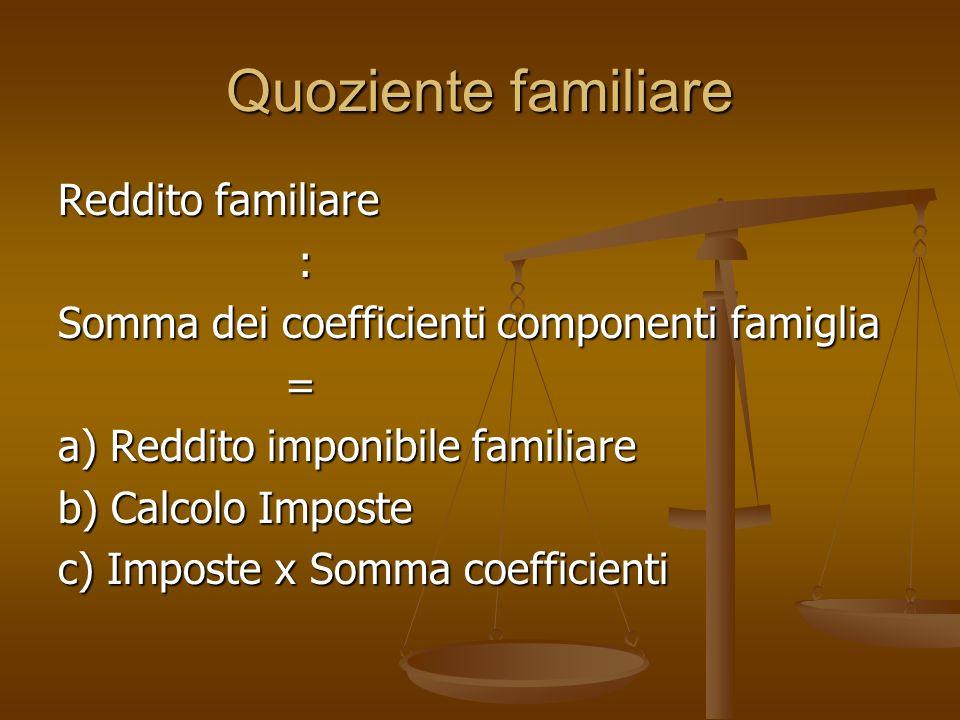 Quoziente familiare Reddito familiare : Somma dei coefficienti componenti famiglia = a) Reddito imponibile familiare b) Calcolo Imposte c) Imposte x Somma coefficienti