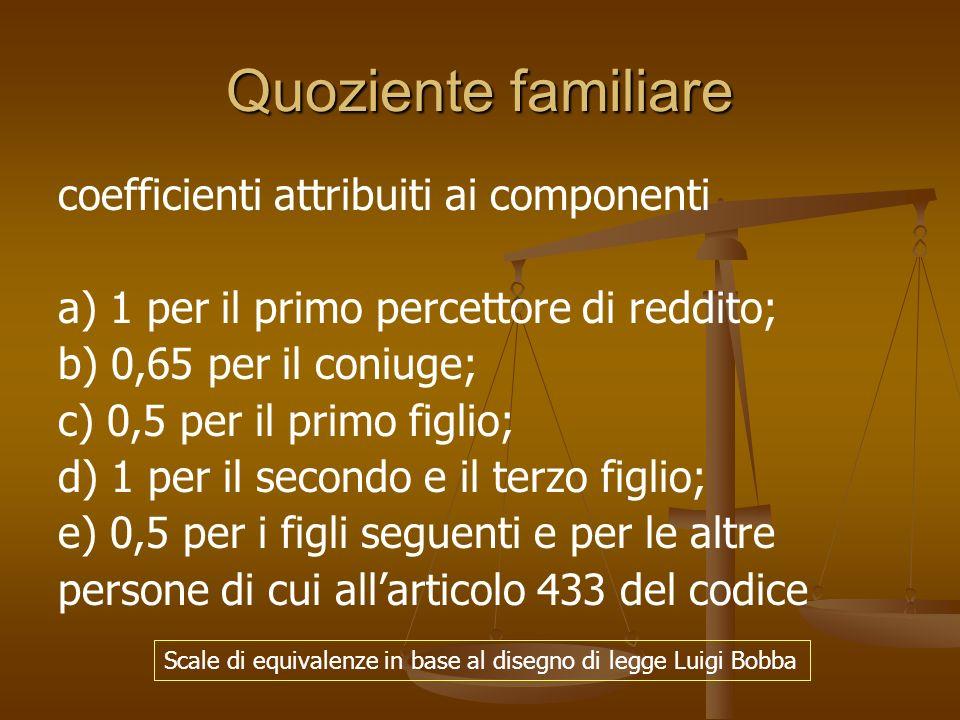 Quoziente familiare coefficienti attribuiti ai componenti a) 1 per il primo percettore di reddito; b) 0,65 per il coniuge; c) 0,5 per il primo figlio;
