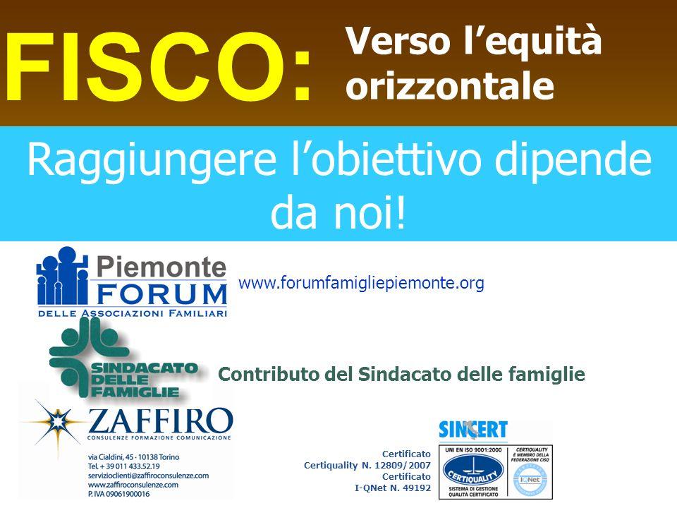 FISCO: Verso lequità orizzontale Contributo del Sindacato delle famiglie Certificato Certiquality N. 12809/2007 Certificato I-QNet N. 49192 www.forumf