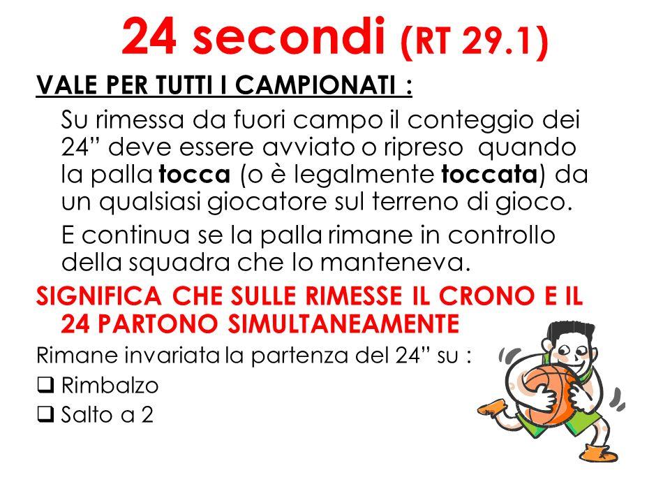 24 secondi (RT 29.1) VALE PER TUTTI I CAMPIONATI : Su rimessa da fuori campo il conteggio dei 24 deve essere avviato o ripreso quando la palla tocca (