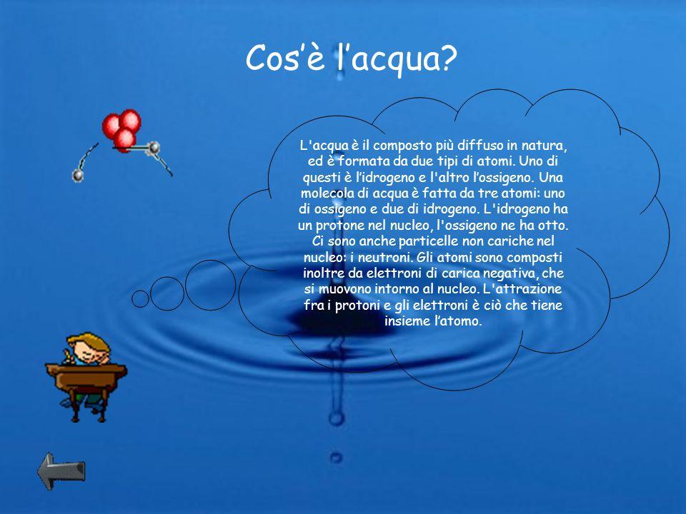 Cosè lacqua? L'acqua è il composto più diffuso in natura, ed è formata da due tipi di atomi. Uno di questi è lidrogeno e l'altro lossigeno. Una moleco