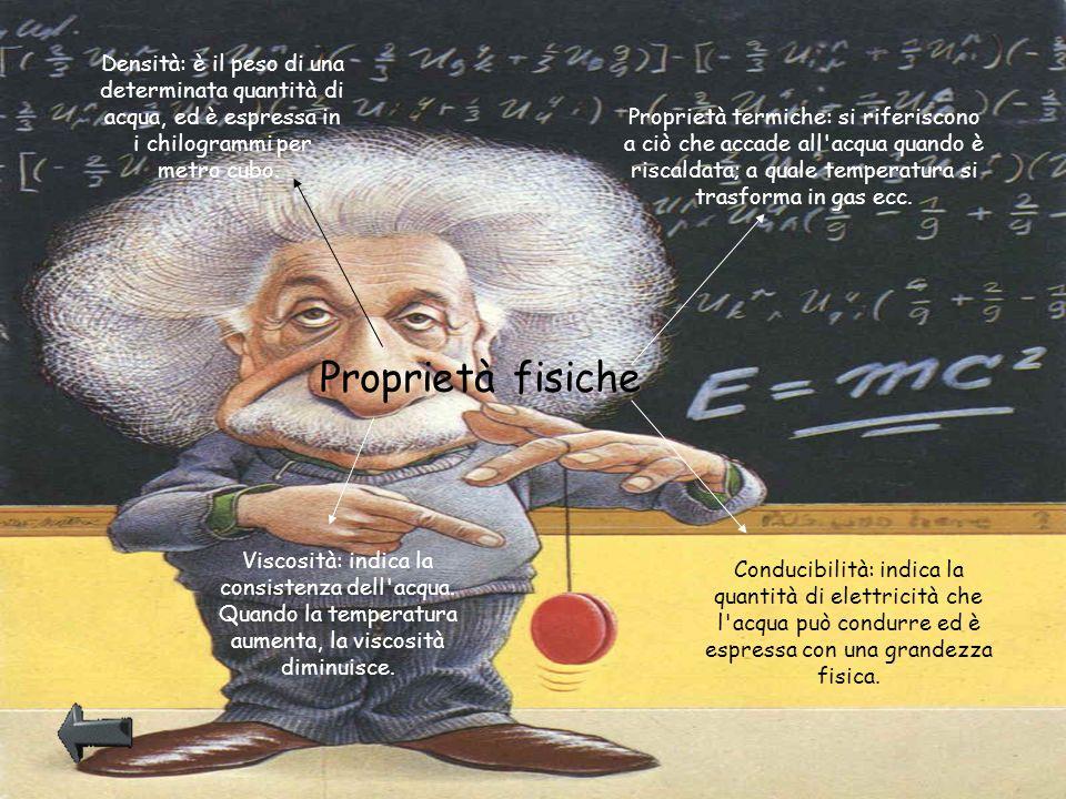 Proprietà fisiche Densità: è il peso di una determinata quantità di acqua, ed è espressa in i chilogrammi per metro cubo. Proprietà termiche: si rifer
