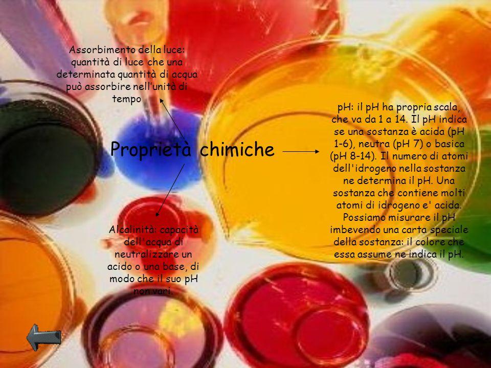 Proprietà chimiche Assorbimento della luce: quantità di luce che una determinata quantità di acqua può assorbire nellunità di tempo pH: il pH ha propr