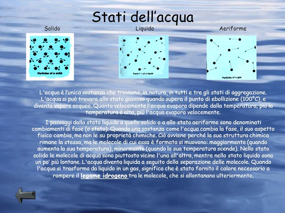 Stati dellacqua L'acqua è lunica sostanza che troviamo, in natura, in tutti e tre gli stati di aggregazione. L'acqua si può trovare allo stato gassoso