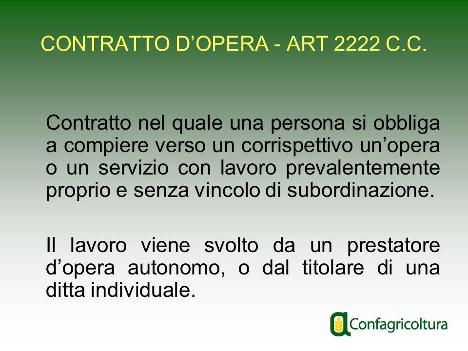 CONTRATTO DOPERA - ART 2222 C.C. Contratto nel quale una persona si obbliga a compiere verso un corrispettivo unopera o un servizio con lavoro prevale
