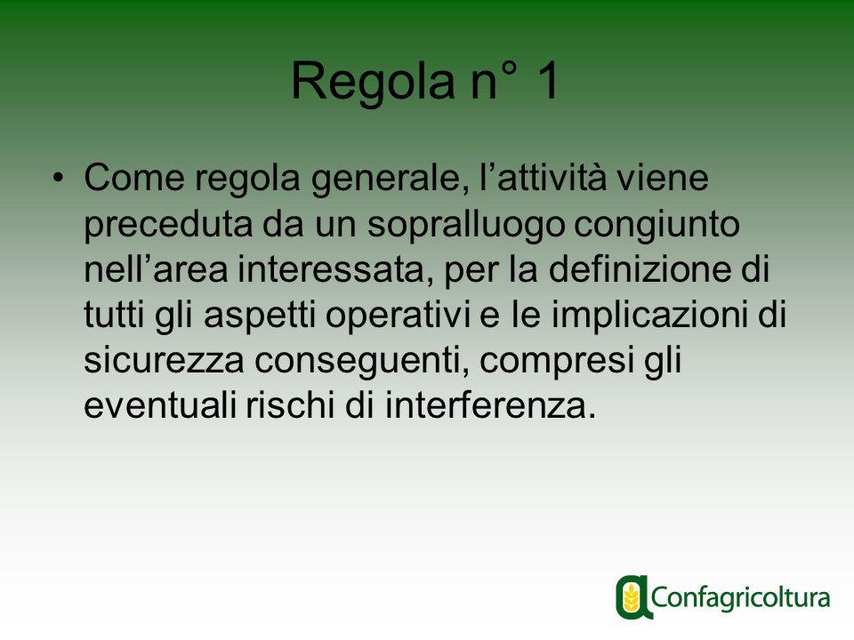 Regola n° 1 Come regola generale, lattività viene preceduta da un sopralluogo congiunto nellarea interessata, per la definizione di tutti gli aspetti