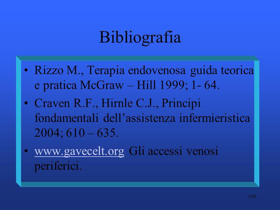 106 Bibliografia Rizzo M., Terapia endovenosa guida teorica e pratica McGraw – Hill 1999; 1- 64. Craven R.F., Hirnle C.J., Principi fondamentali della