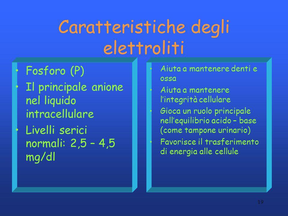 19 Caratteristiche degli elettroliti Fosforo (P) Il principale anione nel liquido intracellulare Livelli serici normali: 2,5 – 4,5 mg/dl Aiuta a mante