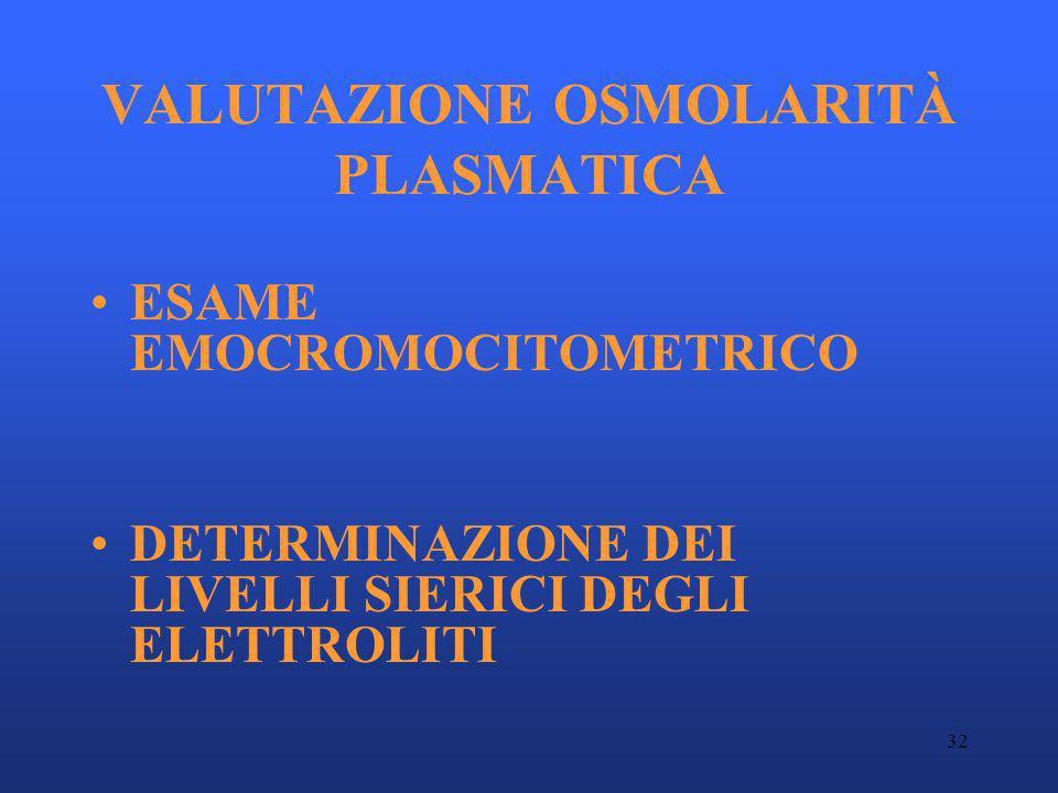 32 VALUTAZIONE OSMOLARITÀ PLASMATICA ESAME EMOCROMOCITOMETRICO DETERMINAZIONE DEI LIVELLI SIERICI DEGLI ELETTROLITI
