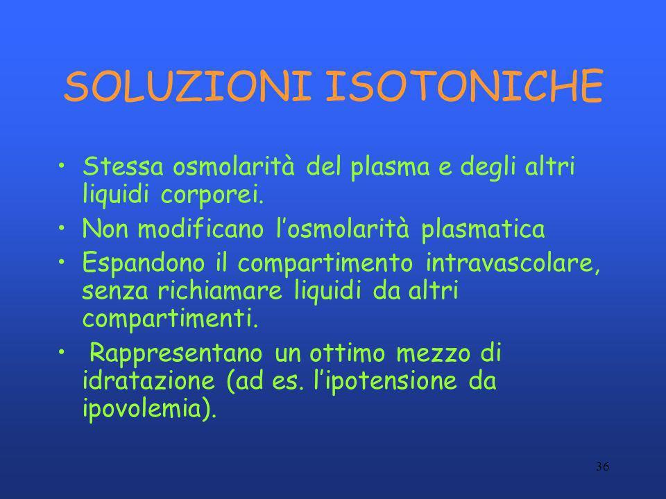 36 SOLUZIONI ISOTONICHE Stessa osmolarità del plasma e degli altri liquidi corporei. Non modificano losmolarità plasmatica Espandono il compartimento