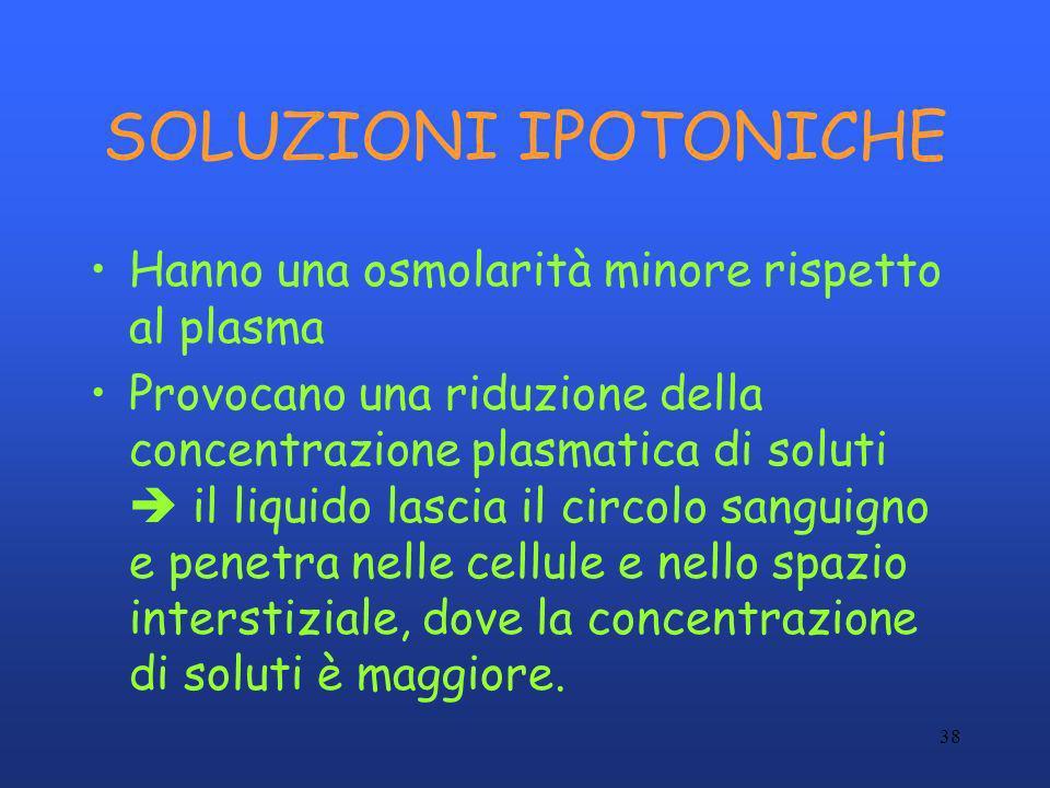 38 SOLUZIONI IPOTONICHE Hanno una osmolarità minore rispetto al plasma Provocano una riduzione della concentrazione plasmatica di soluti il liquido la