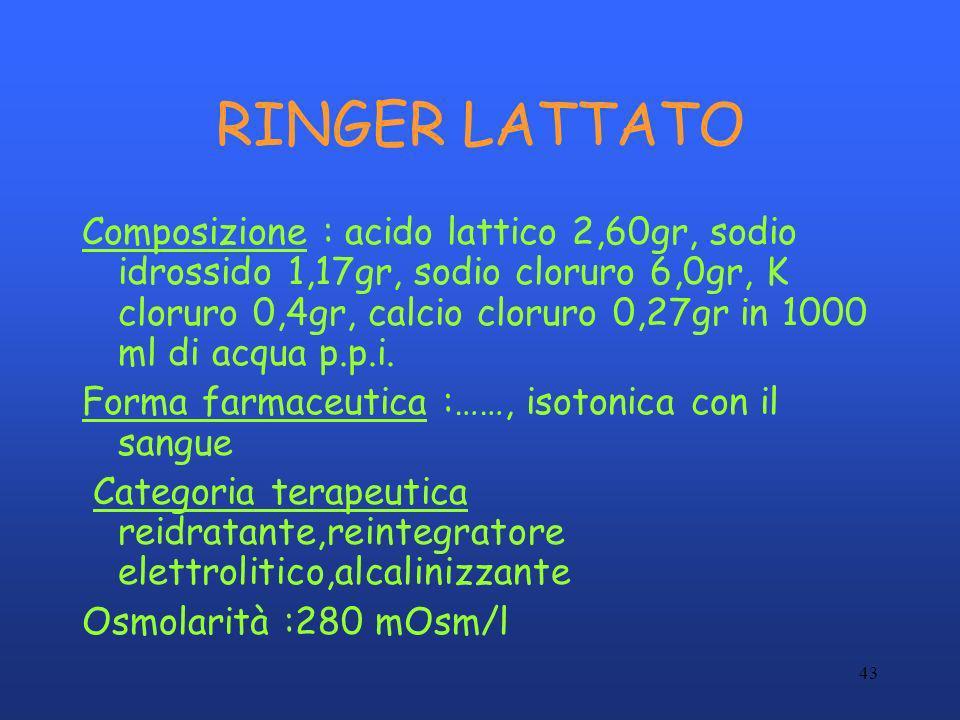 43 RINGER LATTATO Composizione : acido lattico 2,60gr, sodio idrossido 1,17gr, sodio cloruro 6,0gr, K cloruro 0,4gr, calcio cloruro 0,27gr in 1000 ml