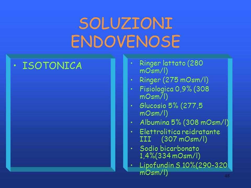 48 SOLUZIONI ENDOVENOSE ISOTONICA Ringer lattato (280 mOsm/l) Ringer (275 mOsm/l) Fisiologica 0,9% (308 mOsm/l) Glucosio 5% (277,5 mOsm/l) Albumina 5%