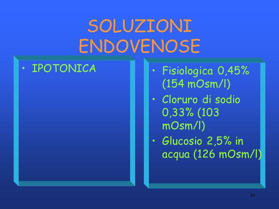 49 SOLUZIONI ENDOVENOSE IPOTONICA Fisiologica 0,45% (154 mOsm/l) Cloruro di sodio 0,33% (103 mOsm/l) Glucosio 2,5% in acqua (126 mOsm/l)