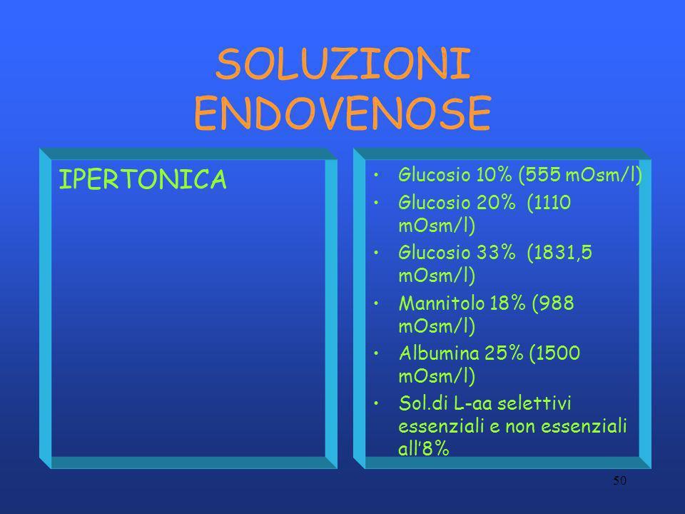 50 SOLUZIONI ENDOVENOSE IPERTONICA Glucosio 10% (555 mOsm/l) Glucosio 20% (1110 mOsm/l) Glucosio 33% (1831,5 mOsm/l) Mannitolo 18% (988 mOsm/l) Albumi