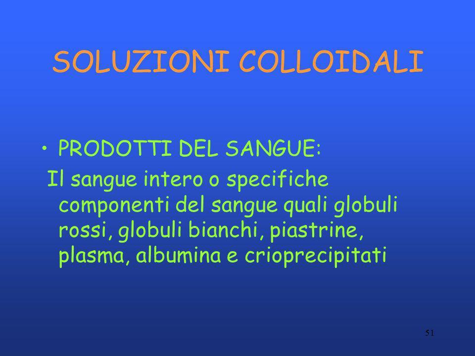 51 SOLUZIONI COLLOIDALI PRODOTTI DEL SANGUE: Il sangue intero o specifiche componenti del sangue quali globuli rossi, globuli bianchi, piastrine, plas