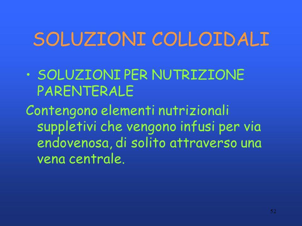 52 SOLUZIONI COLLOIDALI SOLUZIONI PER NUTRIZIONE PARENTERALE Contengono elementi nutrizionali suppletivi che vengono infusi per via endovenosa, di sol
