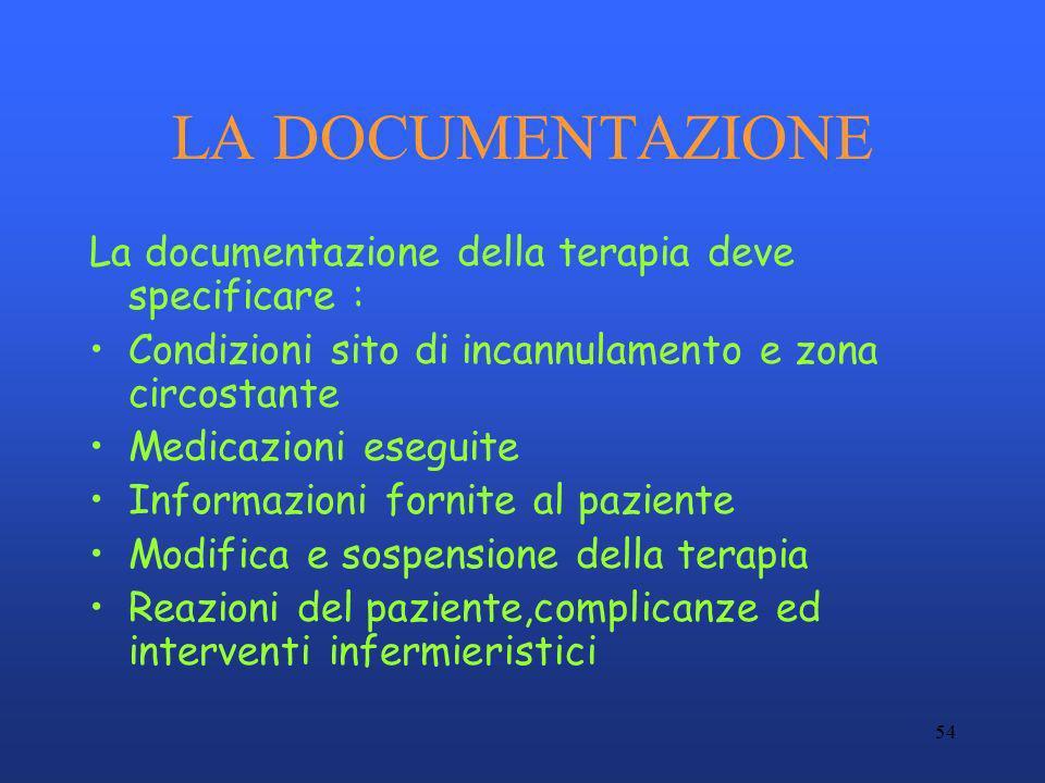54 LA DOCUMENTAZIONE La documentazione della terapia deve specificare : Condizioni sito di incannulamento e zona circostante Medicazioni eseguite Info