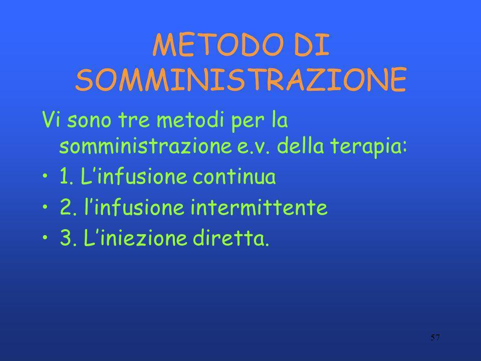 57 METODO DI SOMMINISTRAZIONE Vi sono tre metodi per la somministrazione e.v. della terapia: 1. Linfusione continua 2. linfusione intermittente 3. Lin
