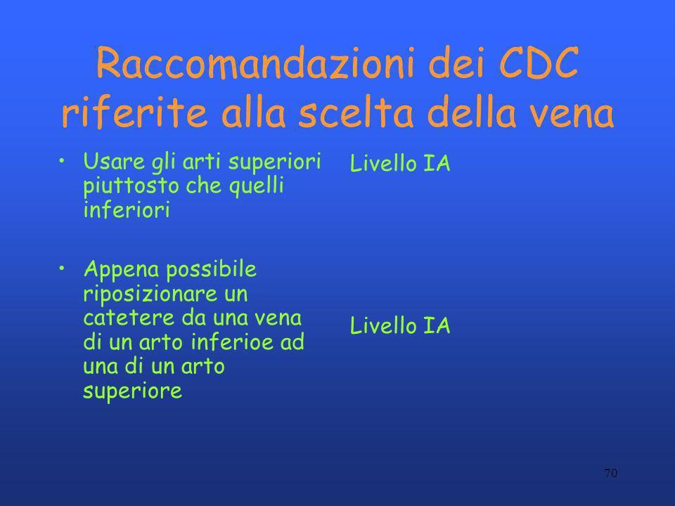 70 Raccomandazioni dei CDC riferite alla scelta della vena Usare gli arti superiori piuttosto che quelli inferiori Appena possibile riposizionare un c