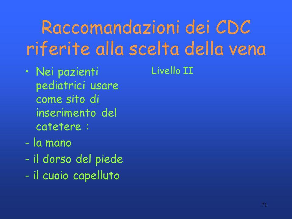 71 Raccomandazioni dei CDC riferite alla scelta della vena Nei pazienti pediatrici usare come sito di inserimento del catetere : - la mano - il dorso