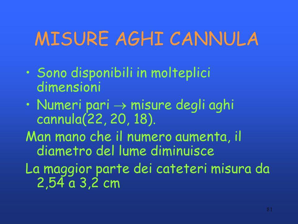 81 MISURE AGHI CANNULA Sono disponibili in molteplici dimensioni Numeri pari misure degli aghi cannula(22, 20, 18). Man mano che il numero aumenta, il