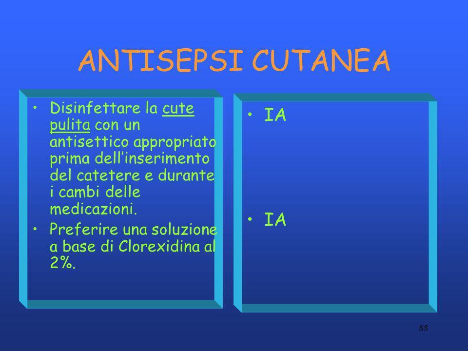88 ANTISEPSI CUTANEA Disinfettare la cute pulita con un antisettico appropriato prima dellinserimento del catetere e durante i cambi delle medicazioni
