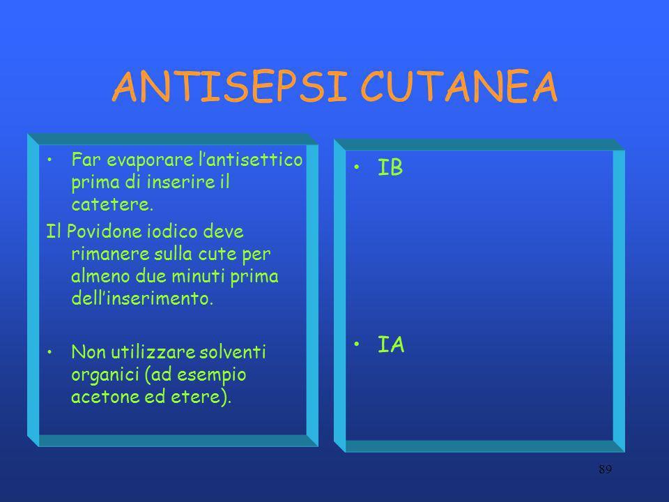 89 ANTISEPSI CUTANEA Far evaporare lantisettico prima di inserire il catetere. Il Povidone iodico deve rimanere sulla cute per almeno due minuti prima
