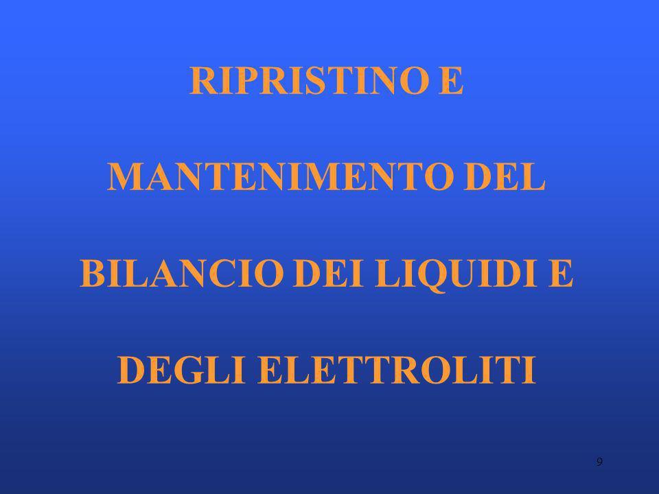 9 RIPRISTINO E MANTENIMENTO DEL BILANCIO DEI LIQUIDI E DEGLI ELETTROLITI