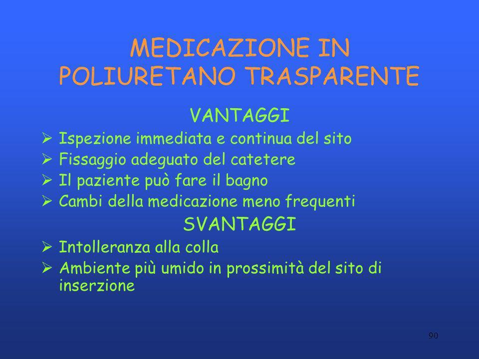 90 MEDICAZIONE IN POLIURETANO TRASPARENTE VANTAGGI Ispezione immediata e continua del sito Fissaggio adeguato del catetere Il paziente può fare il bag