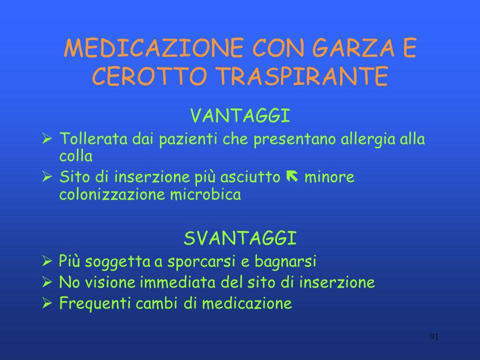 91 MEDICAZIONE CON GARZA E CEROTTO TRASPIRANTE VANTAGGI Tollerata dai pazienti che presentano allergia alla colla Sito di inserzione più asciutto mino