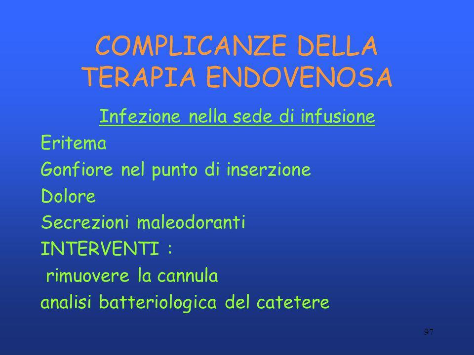 97 COMPLICANZE DELLA TERAPIA ENDOVENOSA Infezione nella sede di infusione Eritema Gonfiore nel punto di inserzione Dolore Secrezioni maleodoranti INTE