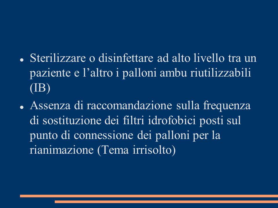Sterilizzare o disinfettare ad alto livello tra un paziente e laltro i palloni ambu riutilizzabili (IB) Assenza di raccomandazione sulla frequenza di