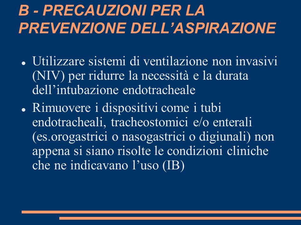 B - PRECAUZIONI PER LA PREVENZIONE DELLASPIRAZIONE Utilizzare sistemi di ventilazione non invasivi (NIV) per ridurre la necessità e la durata dellintu