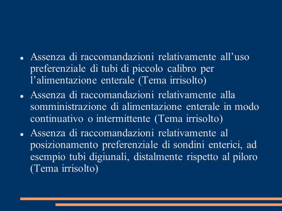 Assenza di raccomandazioni relativamente alluso preferenziale di tubi di piccolo calibro per lalimentazione enterale (Tema irrisolto) Assenza di racco