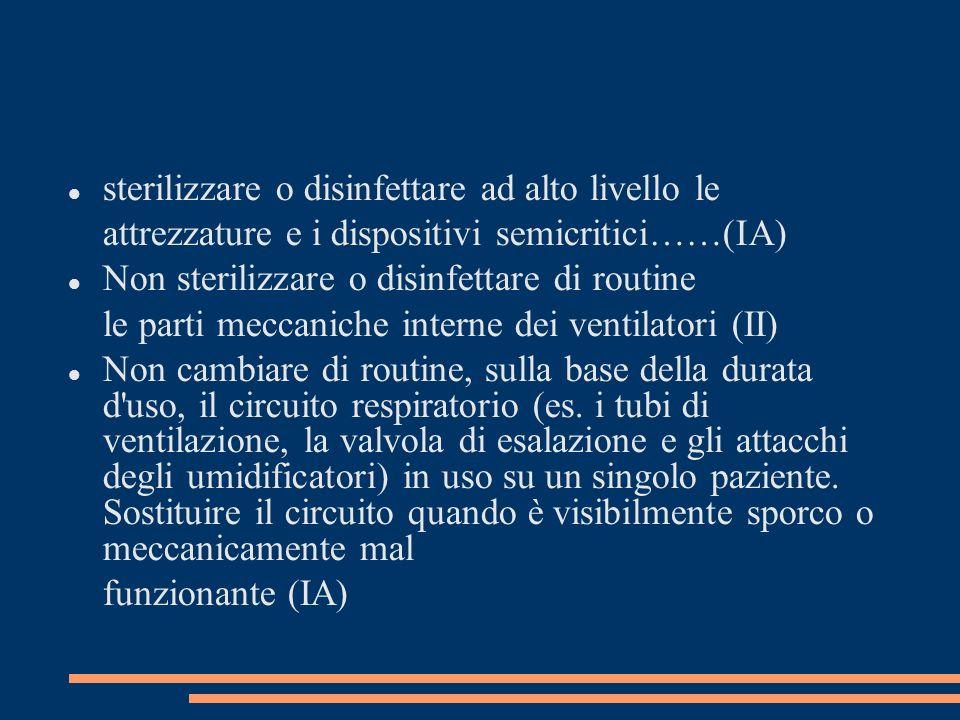 sterilizzare o disinfettare ad alto livello le attrezzature e i dispositivi semicritici……(IA) Non sterilizzare o disinfettare di routine le parti mecc